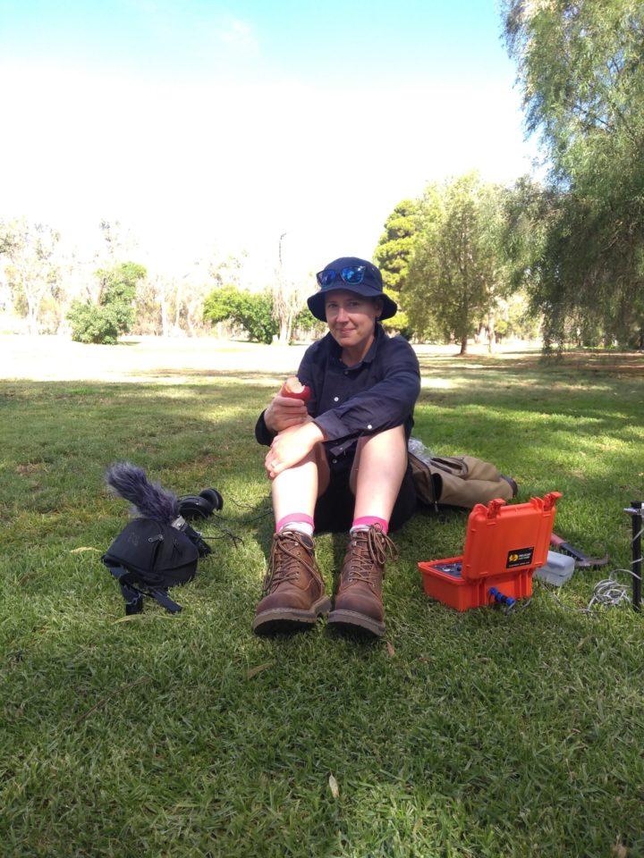 Rupture development, Broken Hill, Perilya Mine operations, Broken Hill. Jessie with the geophone outside Perilya Mine operations