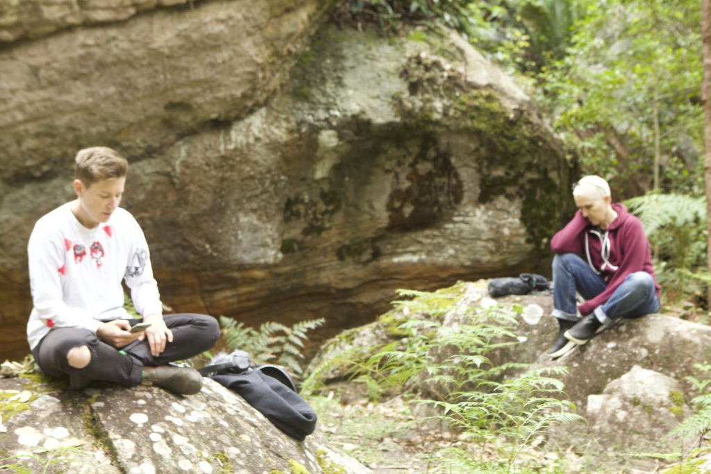 Rupture Development, Bundanon 2020, Jessie and Linda listen to the rocks.